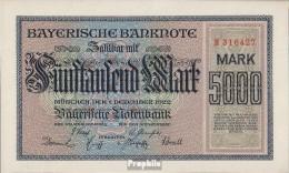 Bavière Rosenbg: BAY6, Länderbanknote Bavière Utilisé (III) 1922 5.000 Mark - 1918-1933: Weimarer Republik