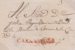 G)CIRCA 1835-50 PERU, CAXAMARCA RED CANC., CIRCULATED COLONIAL FRONT COVER TO CHACHAPOYAS, XF - Peru