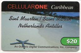 SAINT MARTEEN  CELLULARONE 20 $ étoile De Mer - Antilles (Neérlandaises)