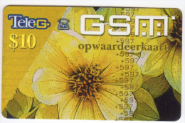 SURINAM CARAIBES PREPAYEE TELESUR GSM 10$ FLEUR - Surinam