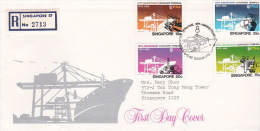 Singapore 1982 10th Anniversary Container Terminal Registered FDC - Singapore (1959-...)