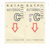 TICKET  AUTOBUS  R.A.T.P.  DOUBLE  ( n� 11 + 12 )  /  Vers  1970  ?