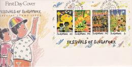 Singapore 1989 Festivals Miniature Sheet FDC - Singapore (1959-...)