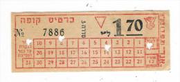 TICKET  D´ AUTOBUS  /  ISRAËL  ( PALESTINE , En 1912  ? ) /  Beaux Poinçons  :  4  PETITS  COEURS.... - Bus