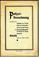 Broschüre 1928  -  Polizei-Verordnung Görlitz  -  Anschluß Der Grundstücke An Die Strassenkanäle - Historische Dokumente