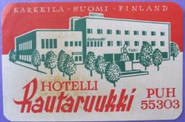 HOTEL HOTELLI HOTELLET HOSPIZ RAUTARUUKKI KARKKILA HELSINKI FINLAND SUOMI MINI DECAL LUGGAGE LABEL ETIQUETTE AUFKLEBER - Hotel Labels