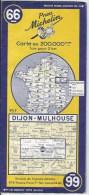 Carte MICHELIN  66 DIJON MULHOUSE 1954 - Cartes Routières