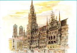 München - Neues Rathaus 7  Künstlerkarte Mads Stage - Muenchen