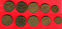 INDE -INDIA - LOT 1/2 PICE 1853 -  1 QUARTER ANNA1835 XF -  3X HALF ANNA 1835 - India