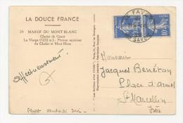 Superbe TAD Type Autoplan 1936 LE FAYET Haute Savoie 74 Sur Paire Semeuse 10c - Marcophilie (Lettres)