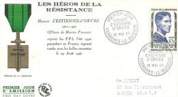Héros De La Résistance 18 Mai 1957  Verrieres Le Buisson Honoré D'estienne D'orves - 1950-1959