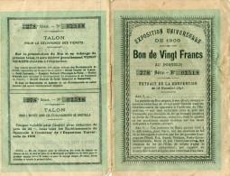 EXPOSITION UNIVERSELLE 1900 PARIS BON DE VINGT FRANC AU PORTEUR - Non Classés