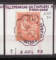 CONVOYEUR.  VILLEFRANCHE DE CONFLENS A PERPIGNAN ..  RECONSTITUTION DU CACHET. TRAVAIL D'ORFÈVRE/ 6D5 - Marcophilie (Timbres Détachés)