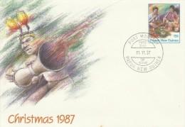 Papua New Guinea 1987 Christmas Prepaid Envelope FDC - Papua New Guinea