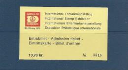 Stamp Exhibition. Hafnia 76. Denmark. Admission Ticket - Eintrittskarte - Billet D`entrée.  # 04391 - Tickets - Vouchers