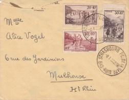 Env Affr Y&T 345 à 347 Obl STRASBOURG PL. DE LA GARE Du 8.1.38 - Cachet Autoplan - Marcophilie (Lettres)