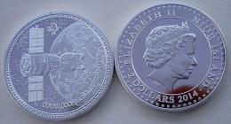NIUE ISLAND 2 $ 2014 27,3 GRAMMI SILVER PLATED PROOF URSS SOYOUZ 1966 FONDO SPECCHIO UNC - Niue