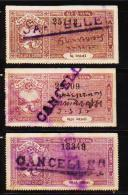 INDIAN STATE JETPUR 3 DIFFERENT OLD COURT FEE REVENUE FISCAL USED STAMPS LOT #D01 - India