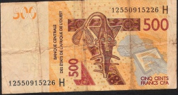 W.A.S. NIGER   NLP  500 FRANCS  2012 RARE Date 2012   FINE - Niger