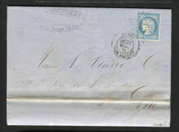 Lettre De Paris Pour Lyon 1873 Etoile 23 RUE ALIGRE - 1849-1876: Période Classique