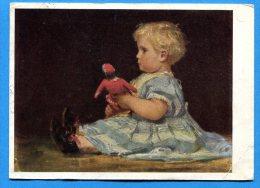 Q531, Fillette à La Poupée Rouge, Albert Anker, Collection Quinche-Anker Neuchâtel, 1 Pli, GF, Circulée 1934 - Neonati