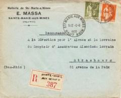 Env Reco Affr Y&T 284A + 286 Obl STE CROIX AUX MINES Du 2.8.1935 - Cachet Autoplan - Poststempel (Briefe)