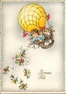 Aviation - Montgolfières - Enfants - Fillettes - Fillette - Fleurs - Illustrateur - Bonne Fête - Grand Format - état - Montgolfières