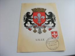 MAXIMUM Cartolina Postale Carte Postale FRANCESE ARALDICA LILLE - Cartoline Maximum