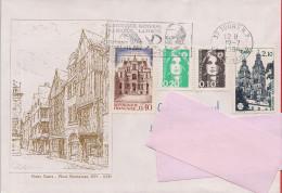 37 -  Flamme De Tours Sur Enveloppe Illustrée Avec Place Plumereau De Tours + 2 Timbres De Tours - 1961-....