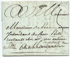 MARQUE POSTALE  DEBOURSE  DE MONTPELLIER HERAULT / CETTE POUR MONTPELLIER PUIS CETTE /  1787 - Postmark Collection (Covers)
