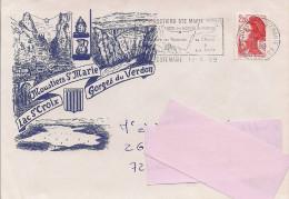 04 -  Flamme De MOUSTIERS SAINTE MARIE Sur Enveloppe Illustrée De Moustiers - Marcofilie (Brieven)