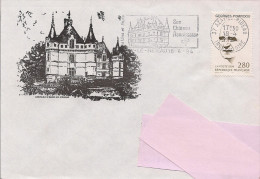 37 -  Flamme De AZAY LE RIDEAU Sur Enveloppe Illustrée D'Azay Le Rideau - Marcofilie (Brieven)