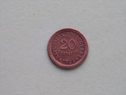 1924 - 20 Centavos - KM 574 ( Uncleaned Coin / For Grade, Please See Photo ) !! - Portugal