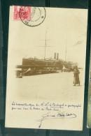 """Cpa Photo - Transatlantique Des Messageries Martimes """" Le Portugal """" Dans Les Bassins De Port Said  En  1908 Fat30 - Port Said"""