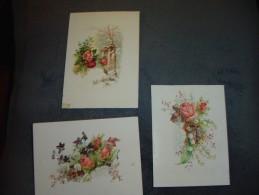 3 Anciennes Cartes Avec Fleurs;roses,perce-neiges,muguet - Cartes