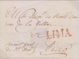 G) CIRCA 1790 PERU, RED LIMA MARK, CIRCULATED FRONT COVER TO PISCO, XF - Peru