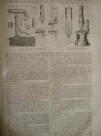 Le Microscope De Chevalier , Nachet , Ross , Piston , Solaire , Gravure De 1854 Avec Texte / 2 Pages - Documents Historiques
