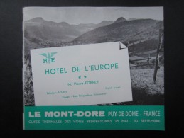 HÔTEL DE L'EUROPE (M1505) LE MONT DORé (4 Vues) Pierre Forrer - Sports & Tourisme