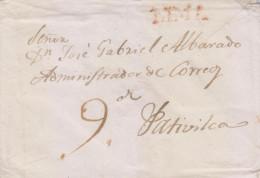 G)CIRCA  1835-50 PERU, LINEAL RED LIMA MARK, CIRCULATED COVER TO PATIVILCA, XF - Peru
