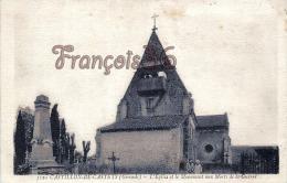 (33) Castillon De Castets - L'Eglise Et Le Monument Aux Morts De La Guerre - TBE - 2 SCANS - France