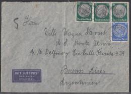 DR Luftpostbrief MiFf Minr.522,3x 525 Hamburg 14.10.38 Gel. Nach Argentinien - Germany