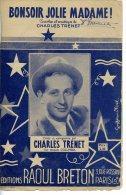 CAF CONC 40 60 PARTITION CHARLES TRENET BONSOIR JOLIE MADAME 1941 - Music & Instruments