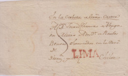 G)CIRCA 1790 PERU, LINEAL RED LIMA CANC., CIRCULATED FRONT COVER TO CHILOE, XF - Peru