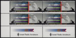 ISRAEL AMATEUR RADIO OPERATORS BLOCK Of 4 Sc 964 MNH 1987 - Blocks & Sheetlets