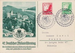 DR Privat-Ganzsache Minr.PP142 C3/03 SST Lauenstein 7.6.36 Zfr. Gel. In Schweiz - Deutschland