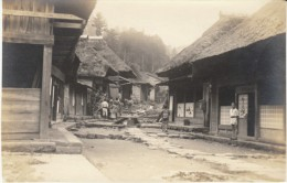 Japan Unknown Town, View Of Houses Buildings And Small Street, People, C1910s(?) Vintage Photograph - Places