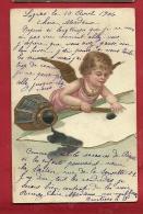 EAN-08 Ange à La Table D'écriture, Encrier, Plume D'oie, Engel, Angelo, Angel, Tinte. Relief Gaufré, Préc.. Cachet 1906 - Angeles