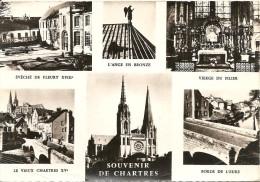28. CPSM. Eure Et Loir. Chartres. Souvenir De Chartres, La Cathédrale, Le Vieux Chartres, Vierge Du Pilier (6 Vues) - Chartres