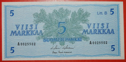 ★ CONIFER ★ FINLAND 5 MARKKAA 1963! UNC CRISP! LOW START ★ NO RESERVE! - Finland
