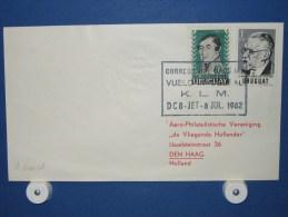 FFC First Flight 212 Montevideo Uruguay - Amsterdam 1962 - A601d (nr.Cat DVH) - Uruguay